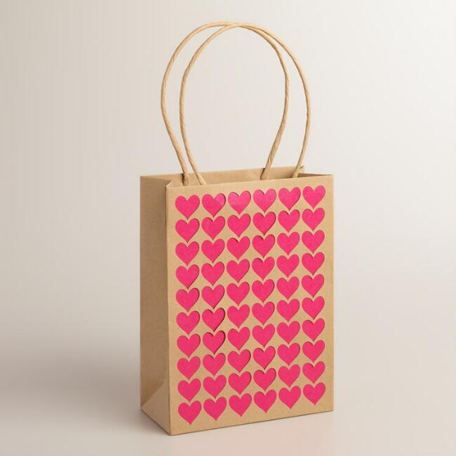 Laser-Cut Heart Kraft Paper Gift Bags, Set of 2