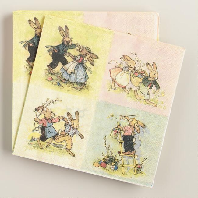 Vintage Bunnies Lunch Napkins, 20-Count