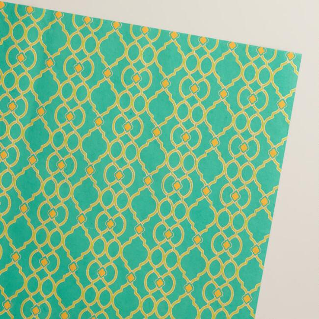 Turquoise Ethel Handmade Wrapping Paper Rolls, 3-Pack