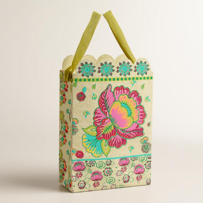 Large Pink Flower Handmade Gift Bags, Set of 2