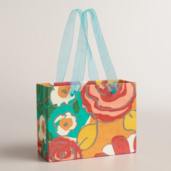 Small Oversized Floral Handmade Gift Bags, Set of 2
