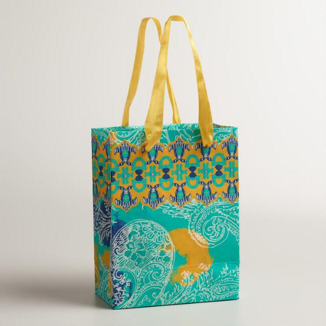 Small Turquoise Overlay Print Handmade Gift Bags, Set of 2