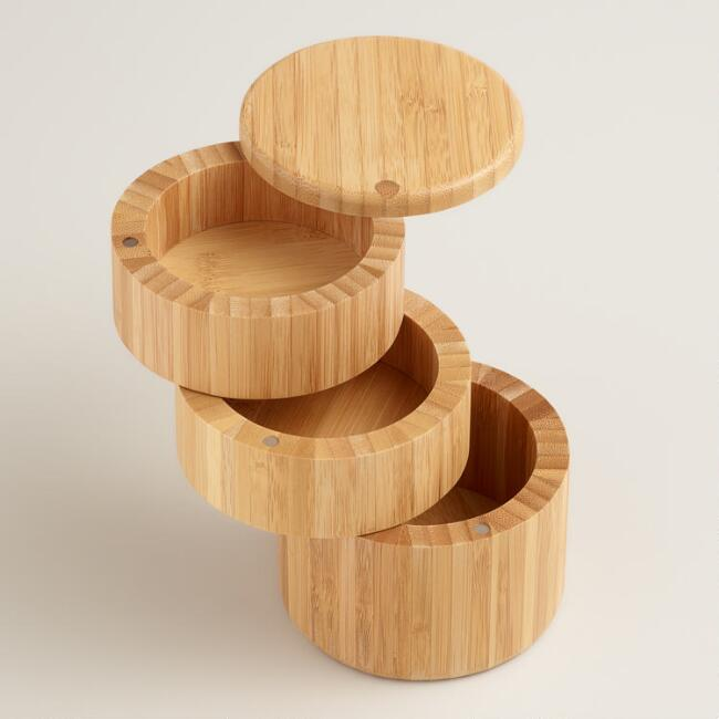 Bamboo 3-Tier Salt and Spice Storage Box