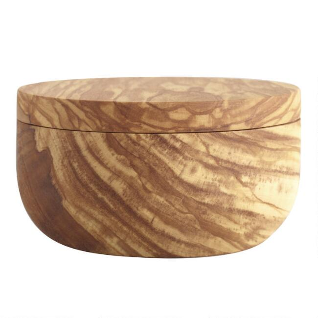 Olive Wood Salt Cellar with Swivel Lid