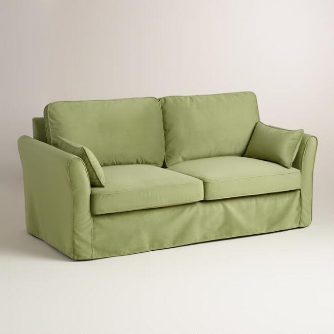 Oregano green velvet loose fit luxe sofa slipcover world market Sofa hussen stretch