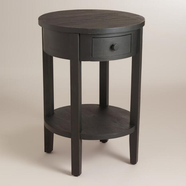 Antique Black Round Juliet Accent Table