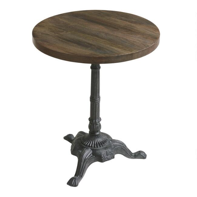 Round Wood and Metal Bistro Accent Table