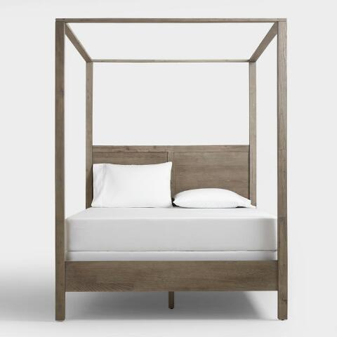 v2 - Gray Marlon Queen Canopy Bed World Market