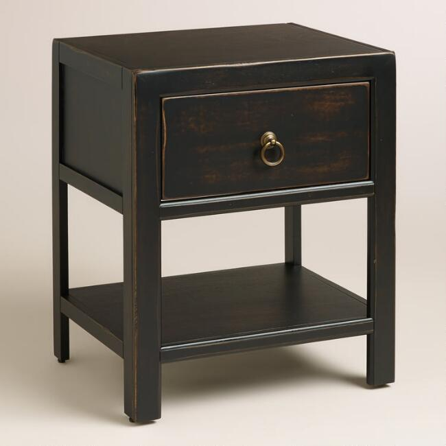 Antique Black Wood Ovid Nightstand