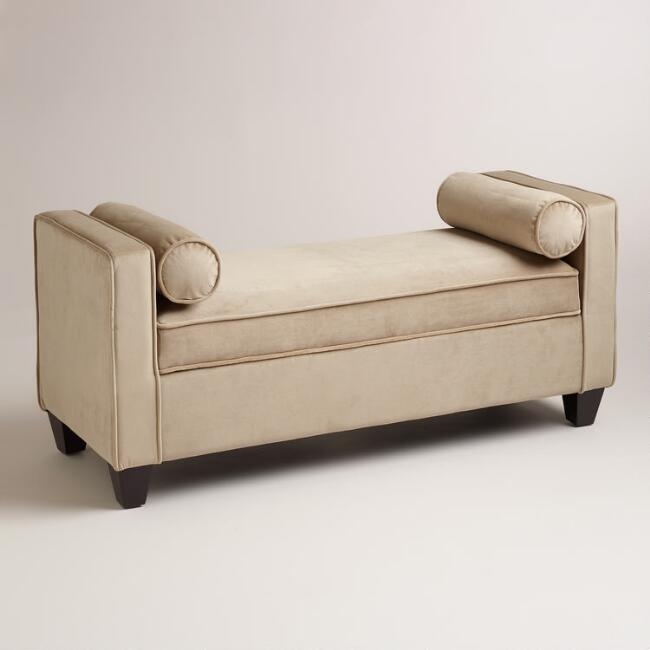 Latte Velvet Lucy Storage Bench