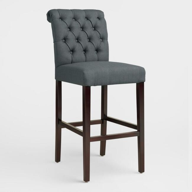 Charcoal Gray Tufted Harper Barstools Set Of 2