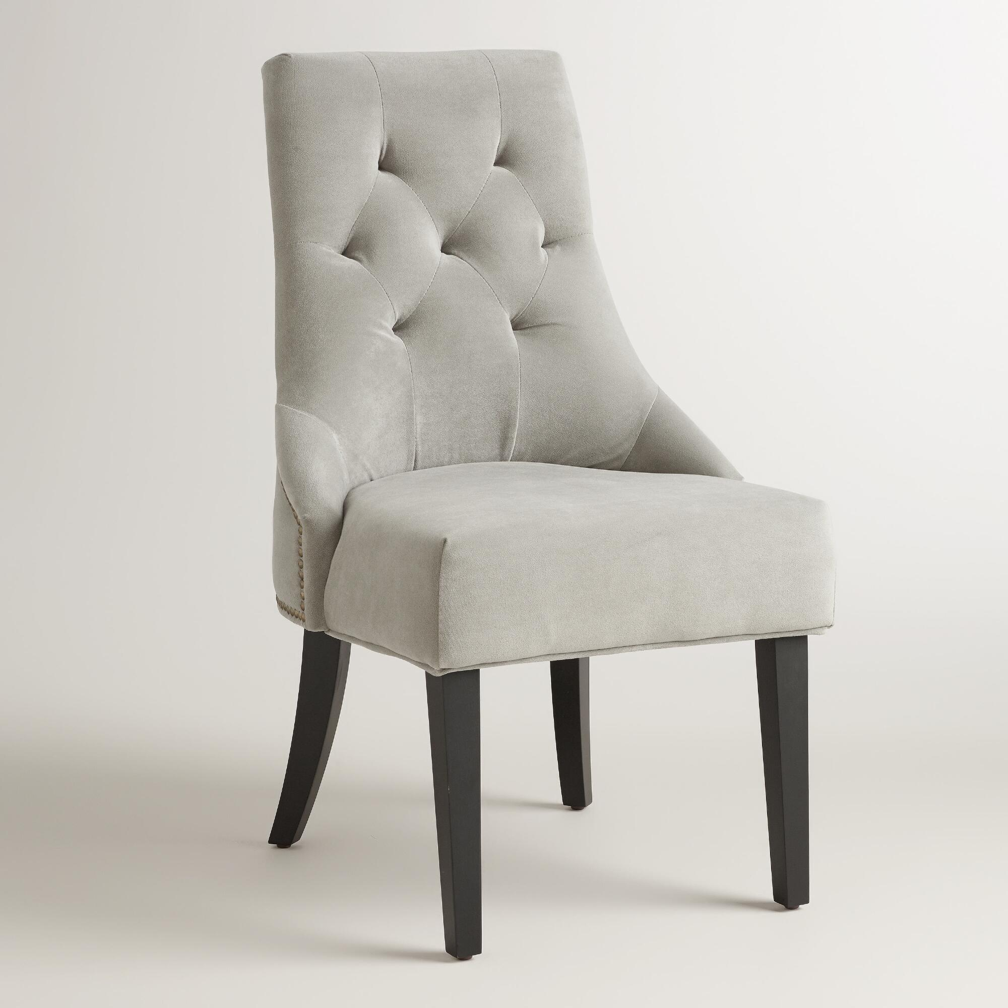 . Dove Gray Tufted Lydia Dining Chairs  Set of 2   World Market