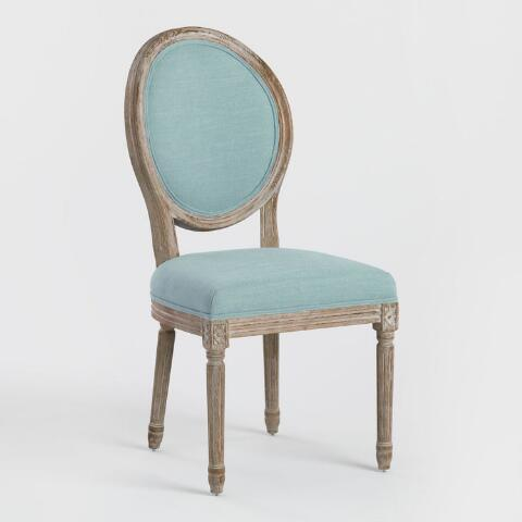 online store fe0b0 fd354 Blue Linen Paige Round Back Dining Chairs, Set of 2