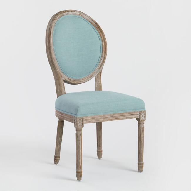 Blue Linen Paige Round Back Dining Chairs,  Set of 2