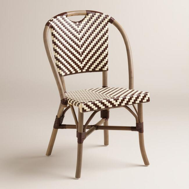 brown and cream clarabella cafe chairs set of 2 world market