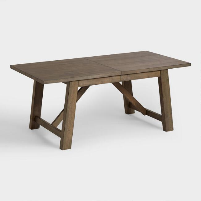 Wood Farmhouse Extension Dining Table