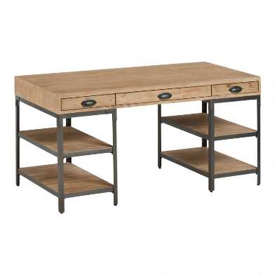 Wood and Metal Teagan Desk with Shelves