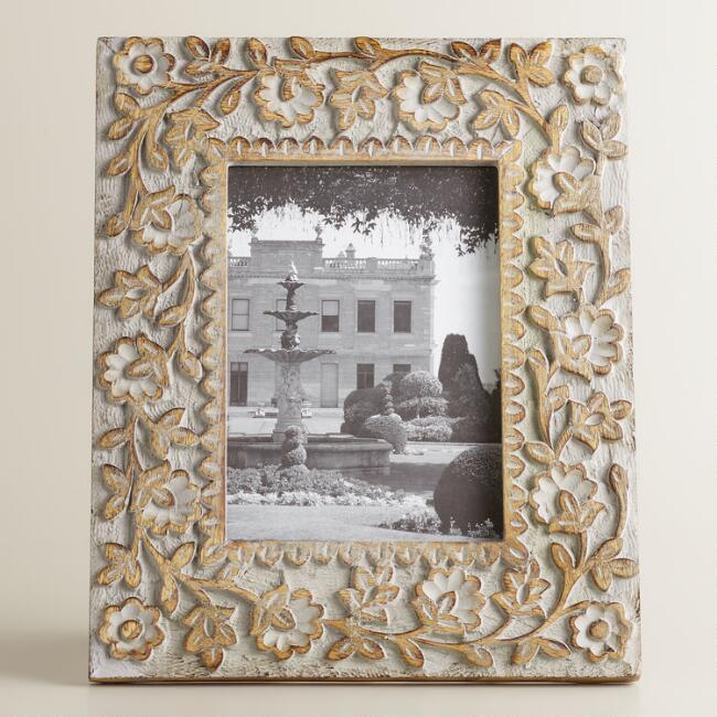 Gray Floral Wood Alexis Frame