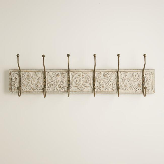 White Wood 6-Hook Sunita Wall Storage