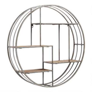 Round Wood and Metal Mateo Wall Storage