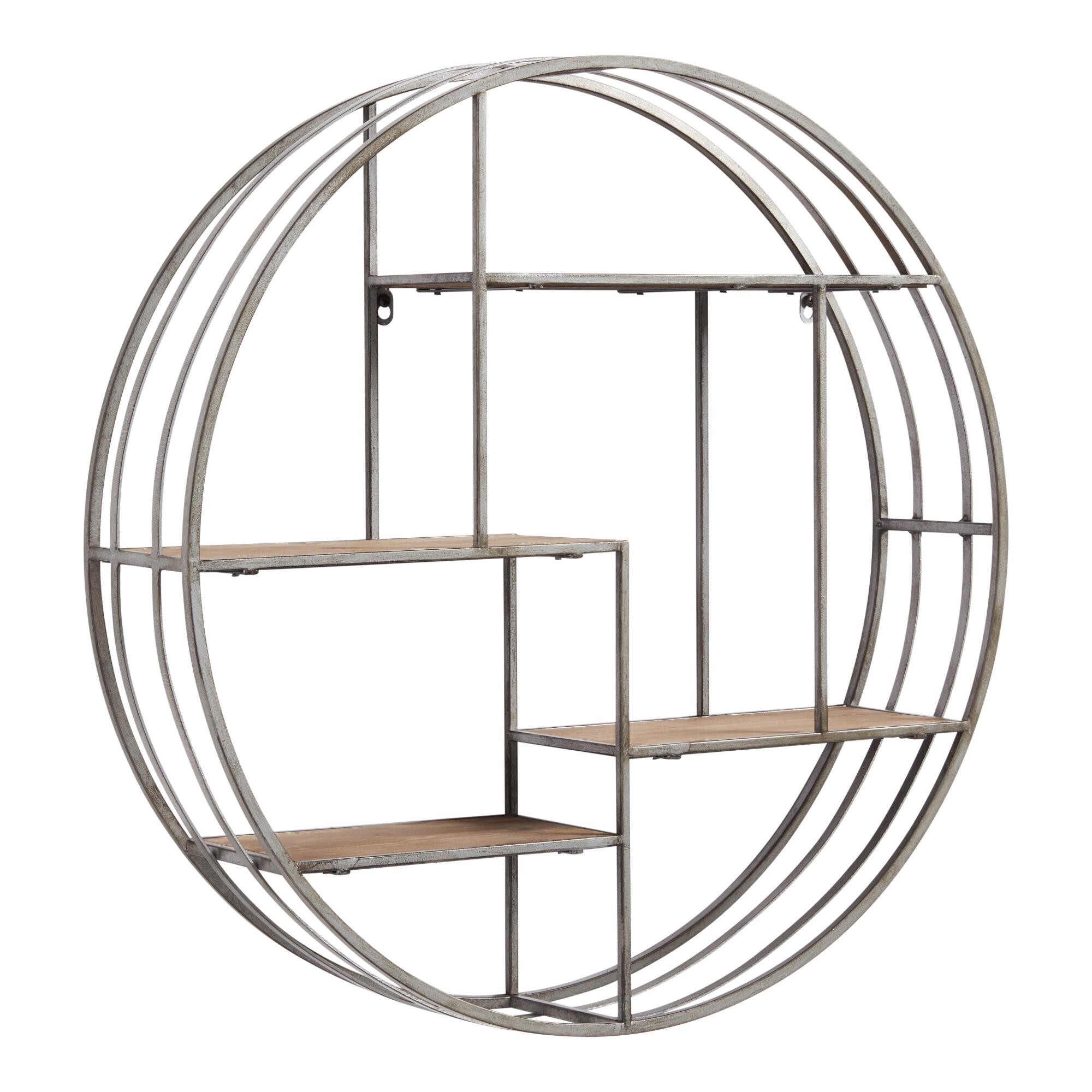 Round Wood and Metal Mateo Wall Storage: Silver by World Market