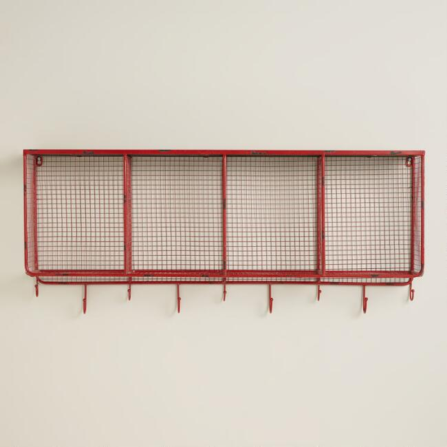 Red Braedyn Wire Wall Storage with Hooks