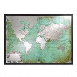 Maps travel wall art world market green mirrored world map gumiabroncs Choice Image