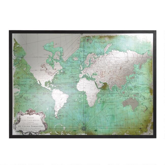 Green mirrored world map world market green mirrored world map gumiabroncs Gallery
