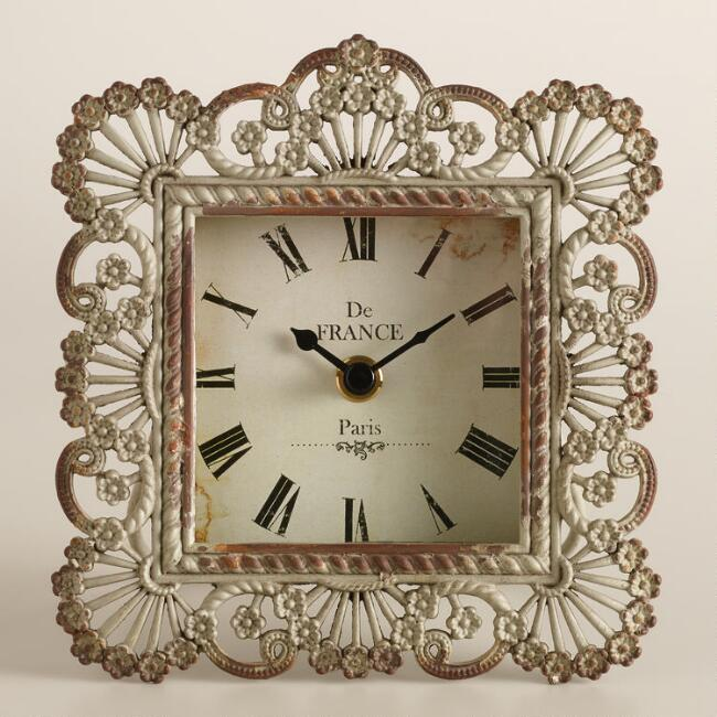 Gray Metal Lucy Filigree Clock