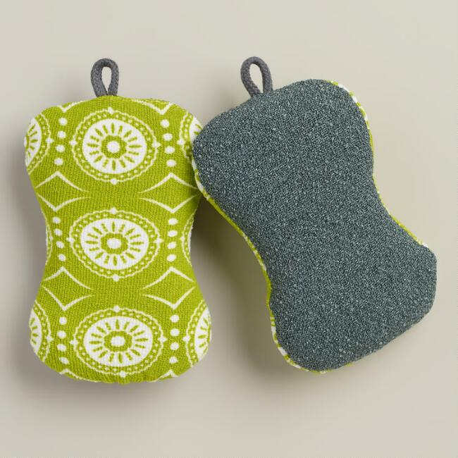 Green Marrakesh 2-in-1 Kitchen Sponges, 2-Pack