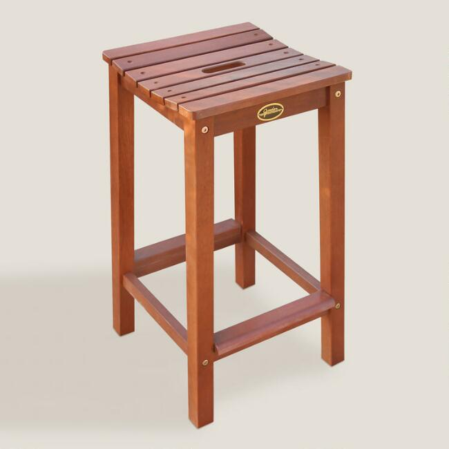 Wood Cori Outdoor Barstools, Set of 2