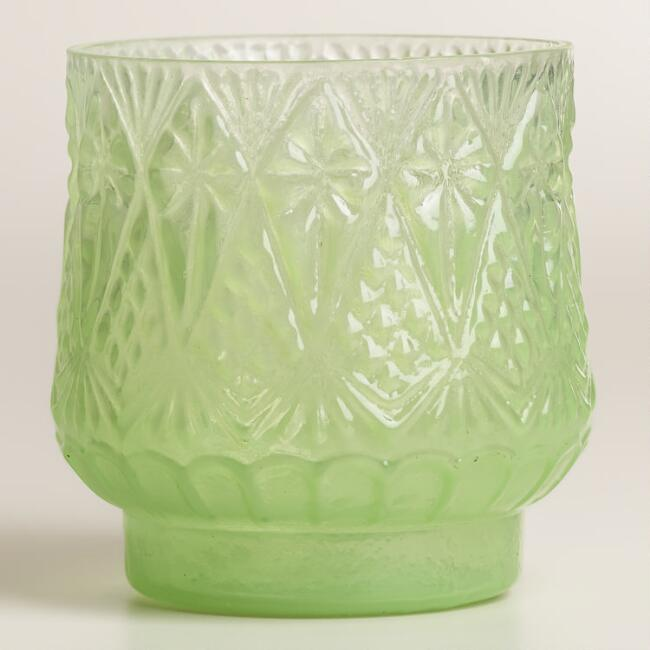Green Opaque Glass Votive Candleholders, Set of 2