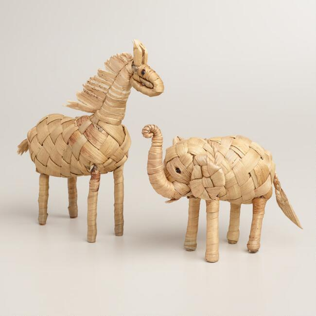 Handcrafted Woven Grass Animals, Set of 2