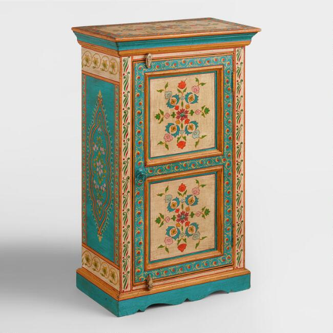 Multicolor Hand Painted Floral Cabinet