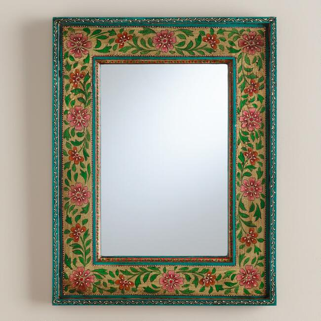 Floral Painted Wood Mirror