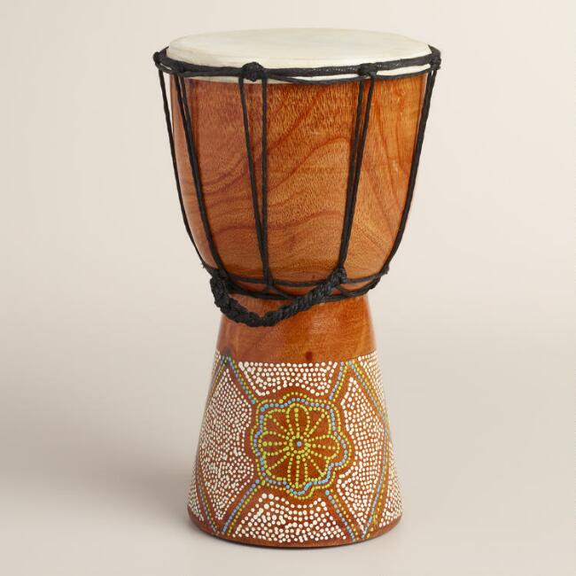 Hand-Painted Batik Drum Decor