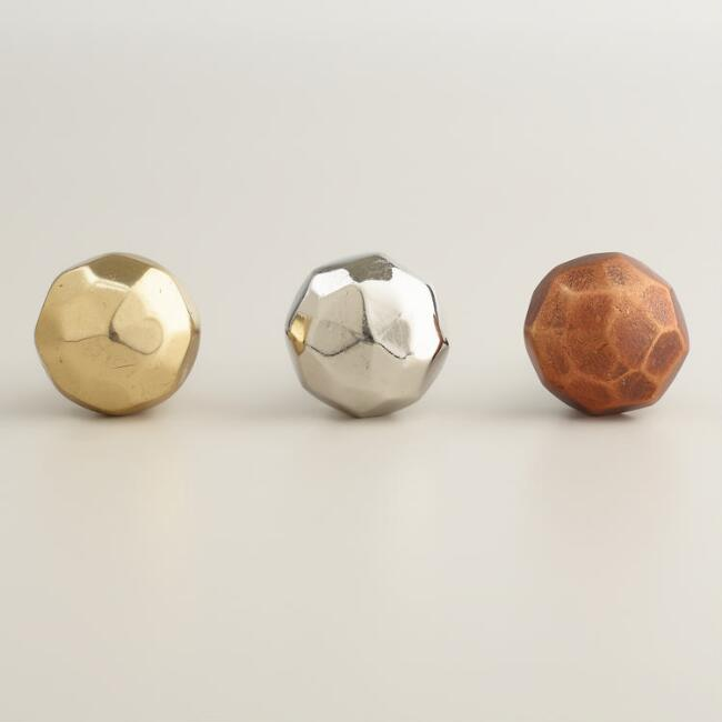 Metallic Copper Faceted Knobs, Set of 2