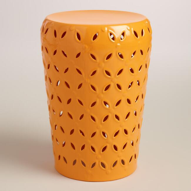 Apricot Punched Metal Lili Drum Stool