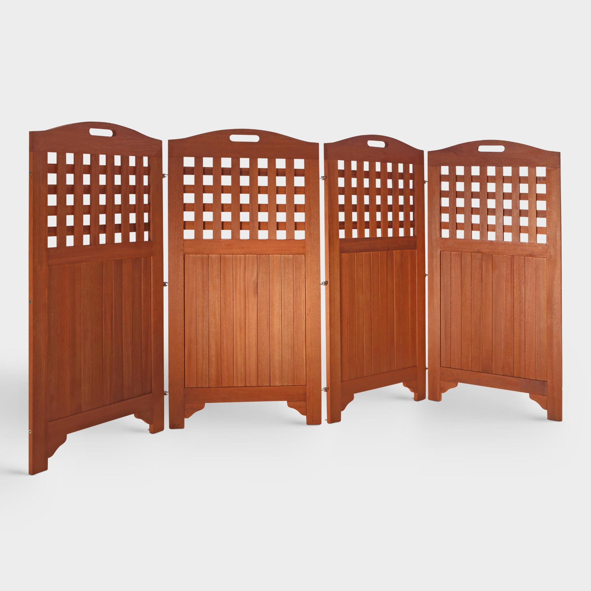 Acacia Wood Outdoor Patio 4-Panel Screen: Brown by World Market