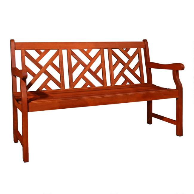 Large Eucalyptus Wood Mady Outdoor Bench