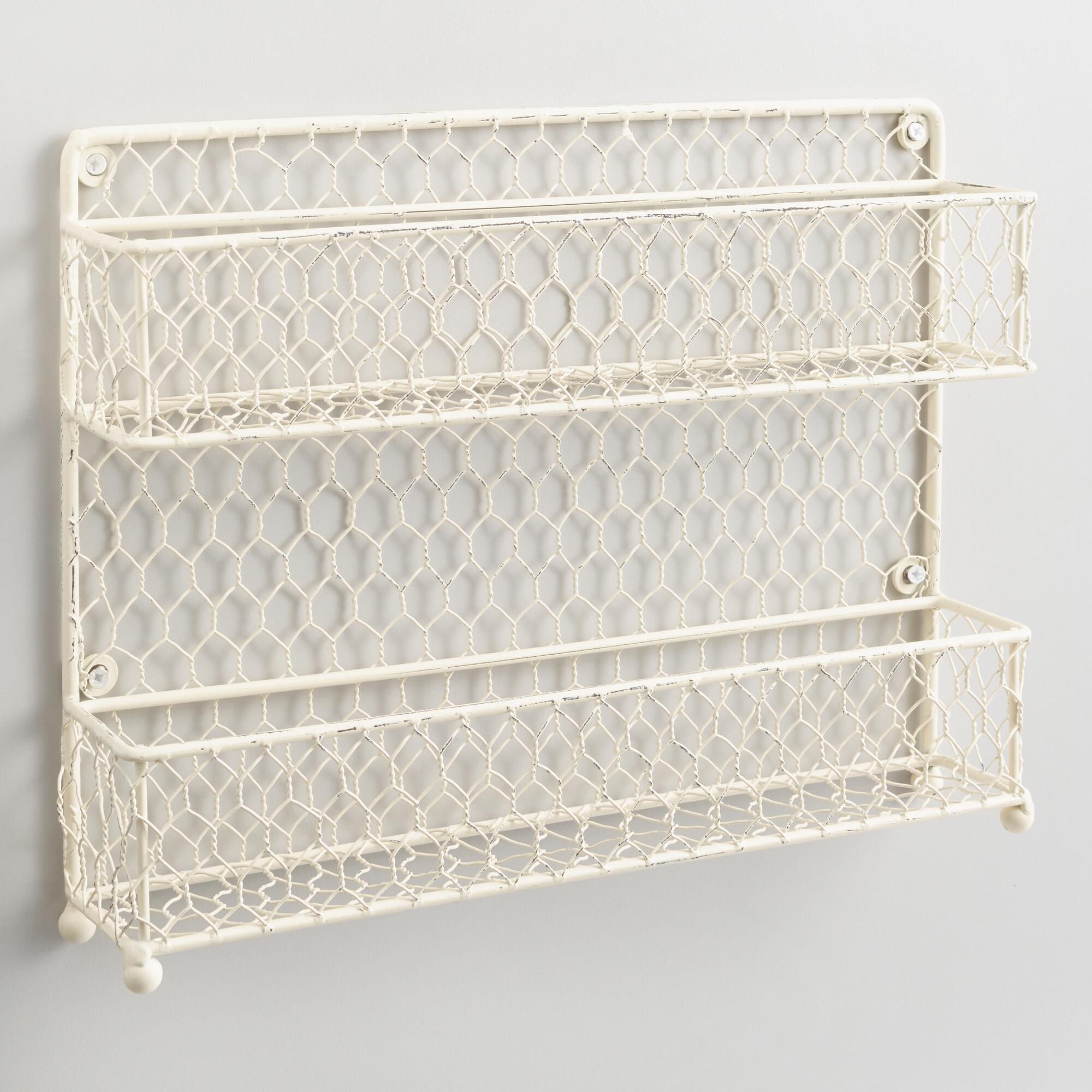 Antique White Wire Two-Tier Spice Rack by