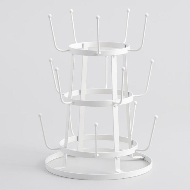 Antique White Wire 3-Tier Glass Drying Rack