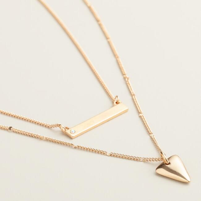 Gold Bar and Triangle Necklaces, Set of 2