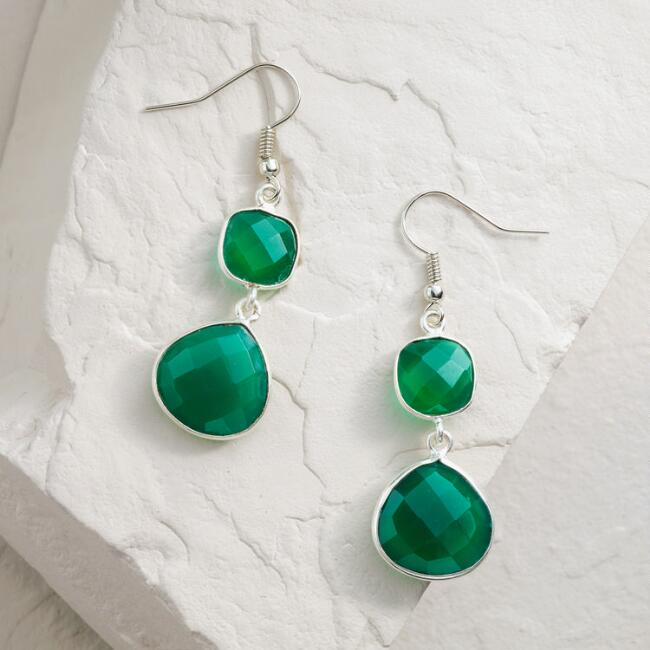 Silver and Green Onyx Double Drop Earrings