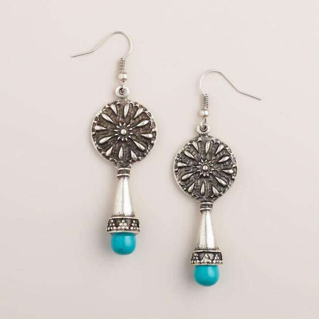 Silver Mosaic Turquoise Drop Earrings