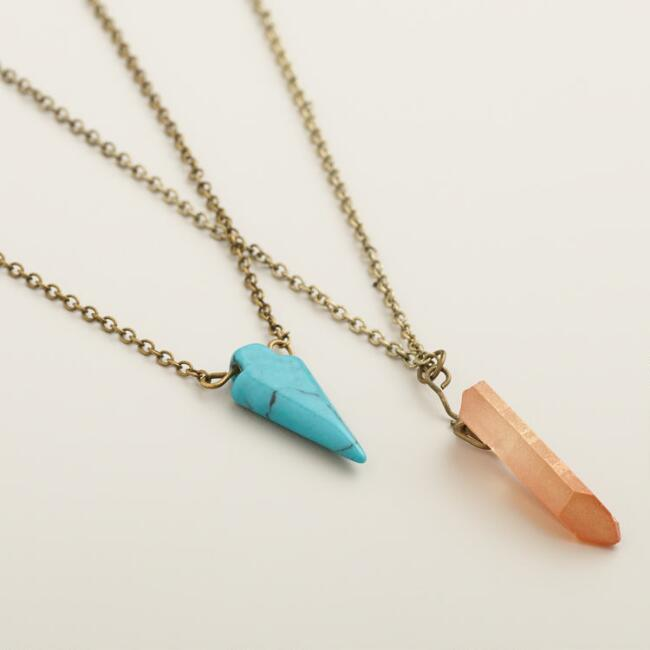 Gold with Turquoise Arrowhead Necklace