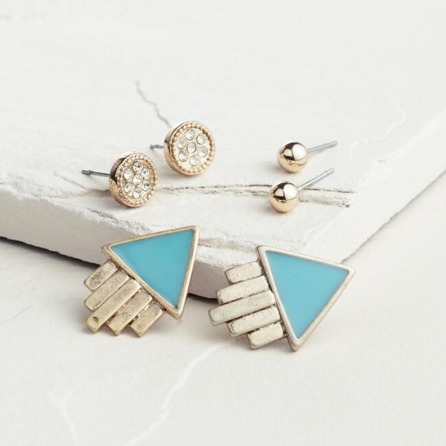 Gold and Mint Triangle Deco Stud Earrings, Set of 3