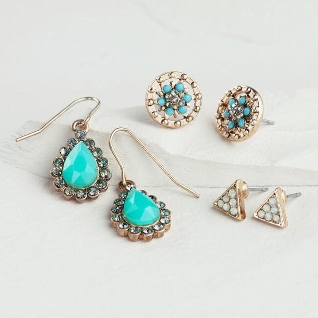 Gold and Turquoise Stud and Teardrop Earrings, Set of 3