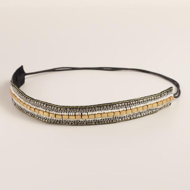 Gold and Ivory Beaded Headband