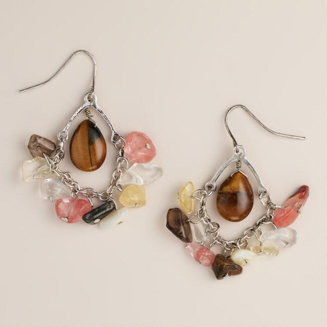 Semi-Precious Diamond Drop Earrings